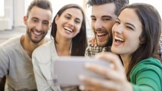 44261894 - friends faving fun and making a selfie